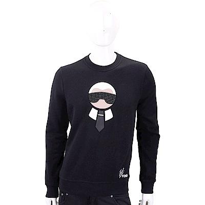 FENDI Karlito 鉚釘墨鏡老佛爺圖騰黑色棉質運動衫(男/女) @ Y!購物