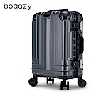 Bogazy 權傾皇者 20吋菱格紋鋁框行李箱(質感灰)