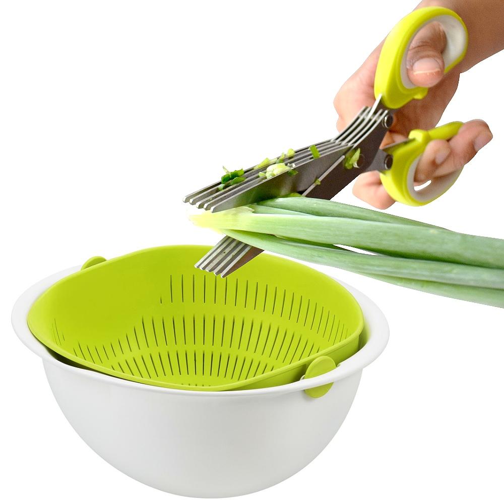 【特惠組】日本Pearl 食材5枚刃剪刀+旋轉瀝水籃(小)