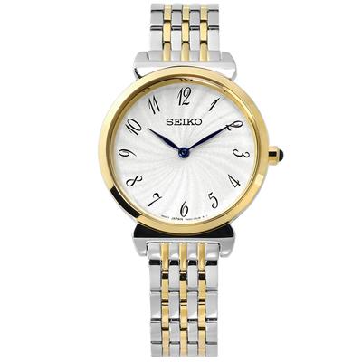 SEIKO 螺旋紋路雙針顯示日本機芯不鏽鋼手錶-銀白x鍍金/30mm
