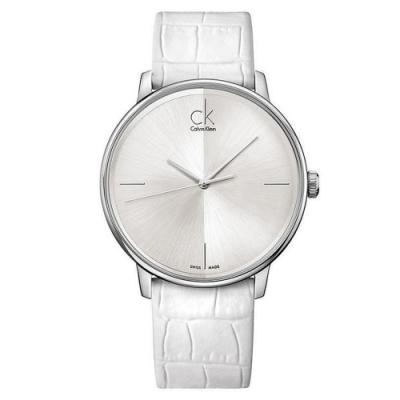 CK Accent 極簡風格時尚白皮革腕錶-銀白 K2Y2X1K6