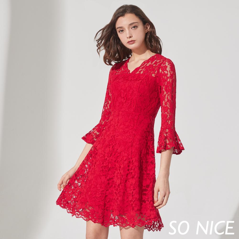 SO NICE優雅V領蕾絲洋裝