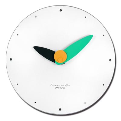 12吋 居家擺飾 輕薄簡約 北歐 無印風 餐廳客廳臥室 靜音 圓掛鐘 - 白綠色