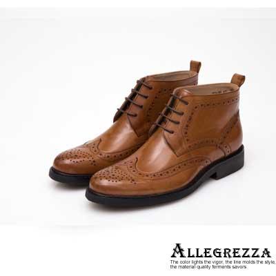 ALLEGREZZA-真皮男鞋-帥氣焦點-真皮藝紋雕花繫帶短靴   焦糖色