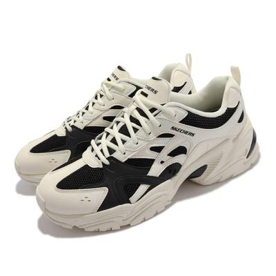 Skechers 休閒鞋 Stamina V2 撞色 復古 簡約 男鞋 優質皮面 網布 輕量 避震 緩衝 淺褐 黑 237234-NTBK