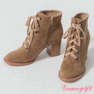Grace gift-韓系木紋粗跟綁帶靴 卡其