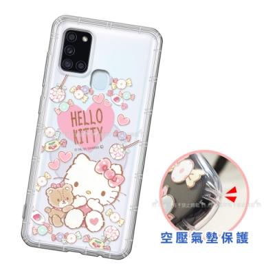三麗鷗授權 Hello Kitty凱蒂貓 三星 Samsung Galaxy A21s 愛心空壓手機殼(吃手手)