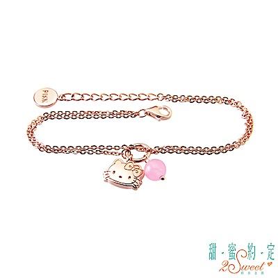 甜蜜約定 HelloKitty 粉紅少女Kitty純銀手鍊-雙鍊款
