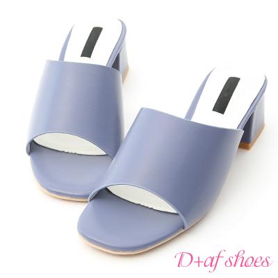 D+AF 韓風氣息.簡約一字寬版中跟涼拖鞋*藍