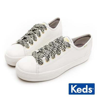 Keds TRIPLE KICK 印花綁帶皮革厚底鞋-白