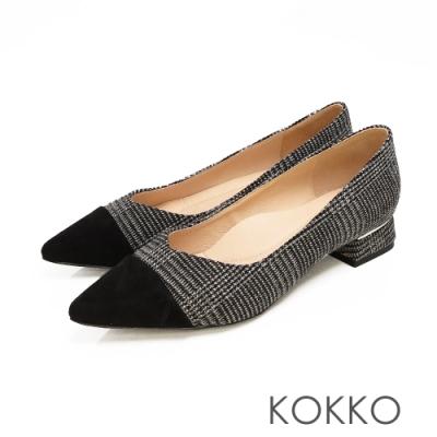 KOKKO - 尖頭V口拼接金屬鑲嵌粗跟鞋-霧黑格紋