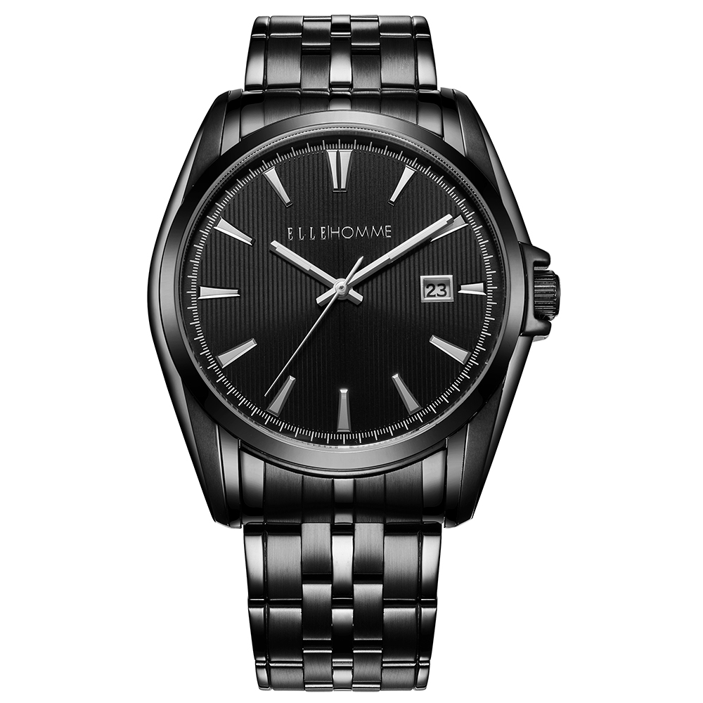 ELLE 知性簡約不鏽鋼男錶-黑/40mm