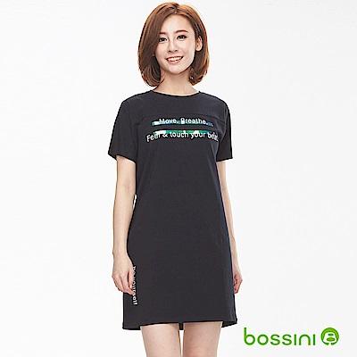 bossini女裝-圓領短袖長版上衣黑