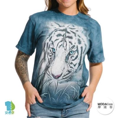 摩達客-美國進口The Mountain 深思白虎 純棉環保藝術中性短袖T恤