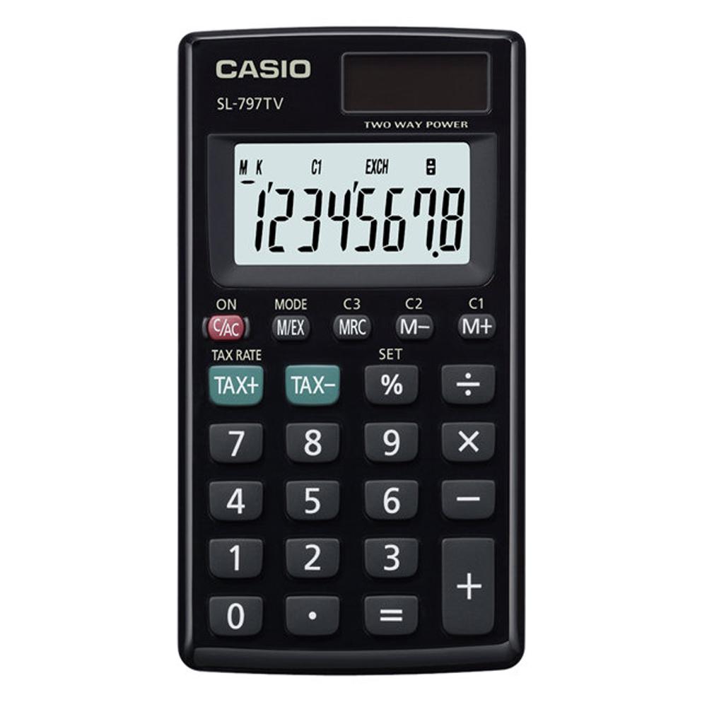 CASIO  8位數大字幕攜帶型計算機-黑 (SL-797TV-BK)