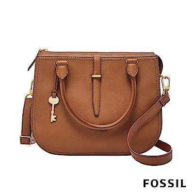 FOSSIL RYDER 真皮圓弧手提/側背兩用包-駝色