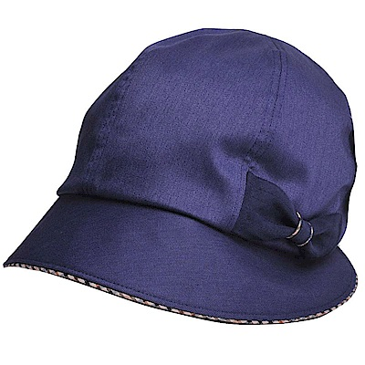 DAKS 日本製抗UV科技纖維格紋蝴蝶結遮陽帽(海軍藍色)