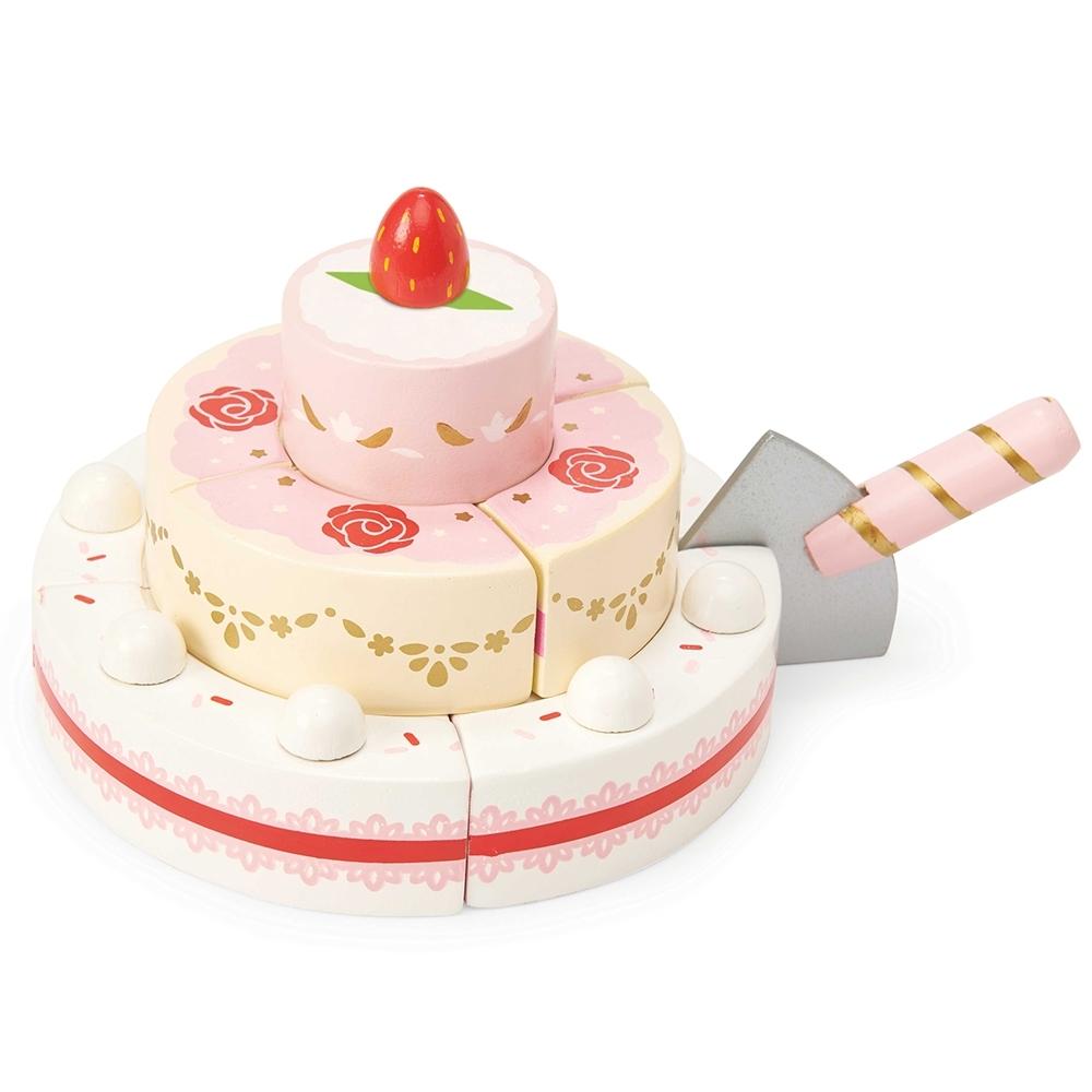 英國 Le Toy Van 角色扮演系列-草莓婚禮蛋糕玩具組