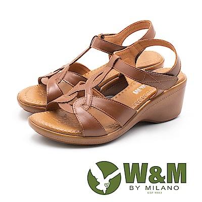 W&M(女)原色幾何編織楔型涼鞋-棕(另有黑)