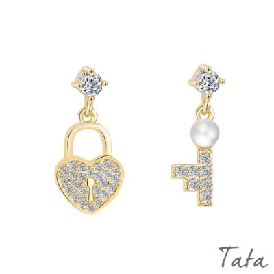 小鑽珍珠不對稱愛心鎖耳環 TATA