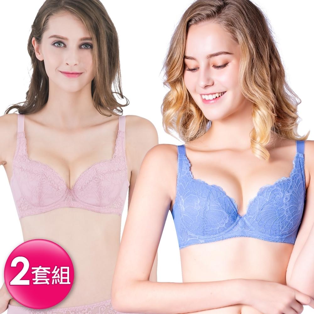 思薇爾 蕾絲B-F罩包覆內衣隨機2套組(粉+藍)
