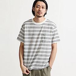 短袖T恤刺繡條紋混紡天竺(6色) ZIP日本男裝