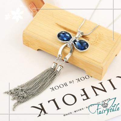 iSFairytale伊飾童話 平安葫蘆 藍水晶白銀流蘇長鍊