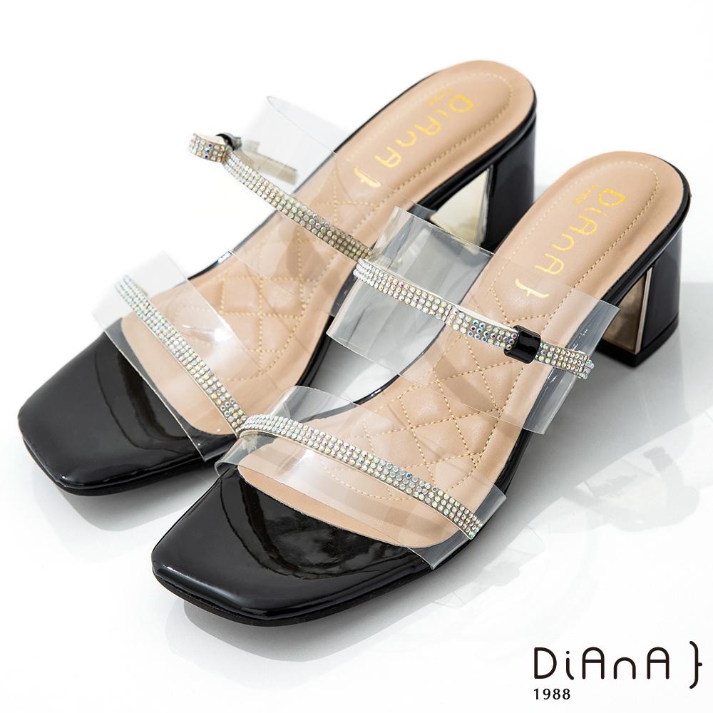DIANA 6cm 糖果漆皮透明PVC方頭涼拖鞋-夏日風情-黑