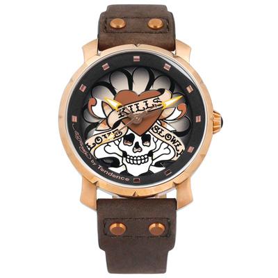 Tendence 天勢表 墨西哥骷髏系列防水真皮手錶-黑x玫瑰金框x深褐/47mm
