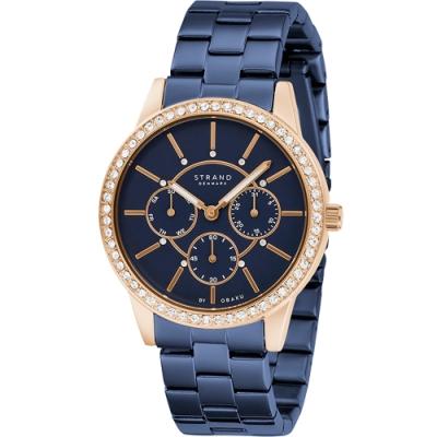STRAND 丹麥海之星璀璨星空腕錶 / 玫瑰金藍鋼帶-37.5mm(S707LMVLSL)