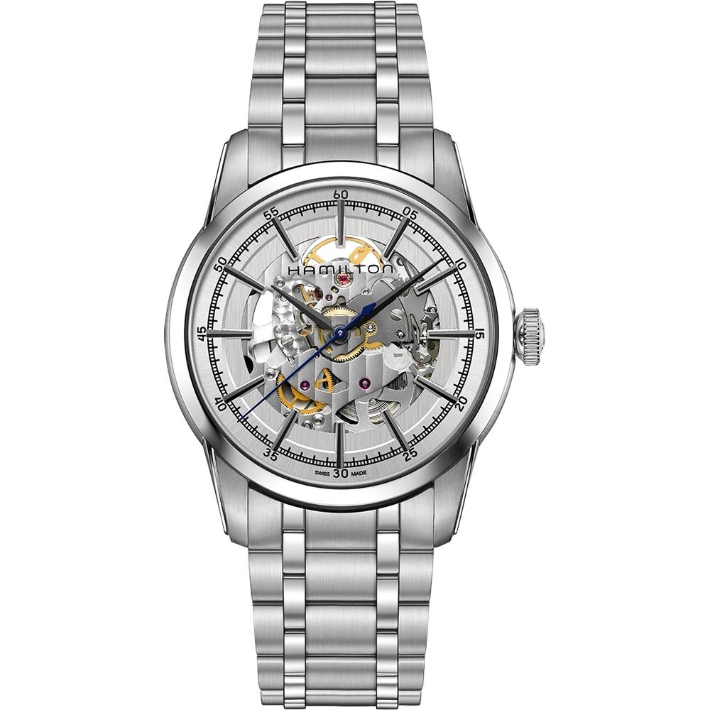 Hamilton AMERICAN CLASSIC鐵路系列鏤空機械腕錶-銀/42mm