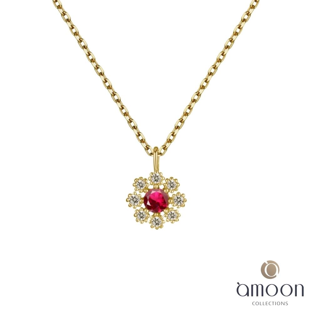 amoon 韓情脈脈系列 紅顏 K金鑽石項鍊