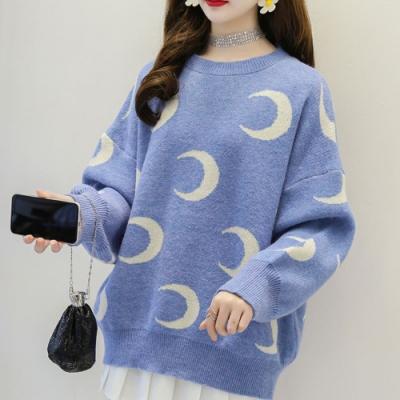 La Belleza滿版月亮圖案落肩針織毛衣