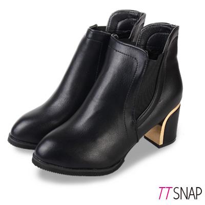 TTSNAP短靴-時尚電鍍金面高雅中跟靴 黑