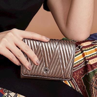 Maria Carla手拿皮夾-羊皮V線條扣式中夾_完美格調、迷漾輕時尚系列(香檳金)