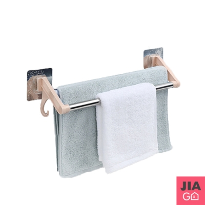 JIAGO 無痕不鏽鋼雙桿毛巾架