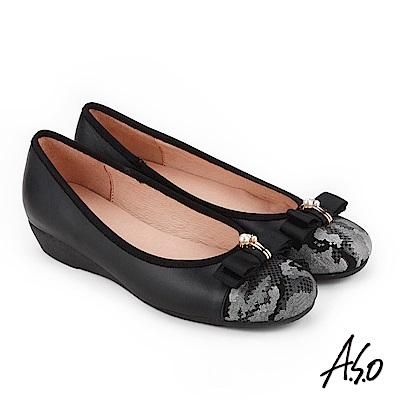 A.S.O 俏麗典雅 珍珠釦飾蝴蝶結低跟鞋 黑
