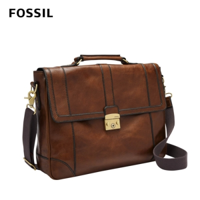 FOSSIL LINEAGE 復古真皮公事包-干邑棕色 MBG9442222 (15吋筆電保護夾層)