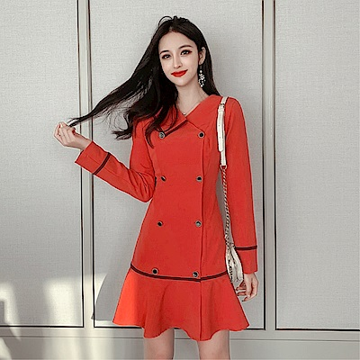 DABI 韓國風女神魚尾海軍風時尚長袖洋裝