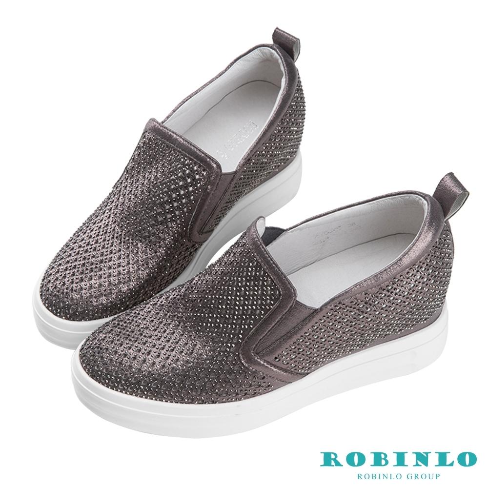 Robinlo 貴氣十足滿版鑲鑽沖孔內增高休閒鞋 錫灰色