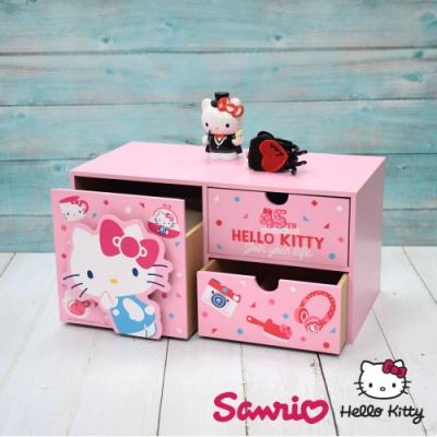 CY本舖 Hello Kitty 凱蒂貓 立體裁片橫式三抽盒 桌上收納 文具收納 飾品收納