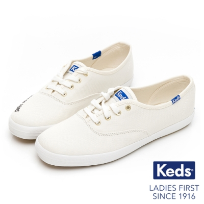 Keds CHAMPION 韓國款1916清新刺繡休閒鞋-奶油白