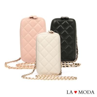 La Moda 逛街出遊最佳搭配小香風菱格紋肩背斜背鏈帶手機包小方包(三色)