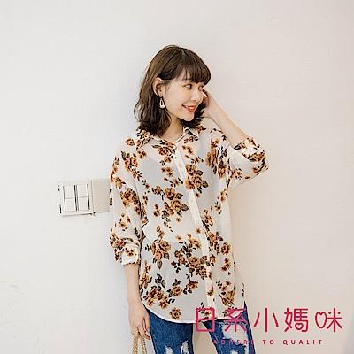日系小媽咪孕婦裝-韓製孕婦裝~質感花卉微透感雪紡襯衫上衣