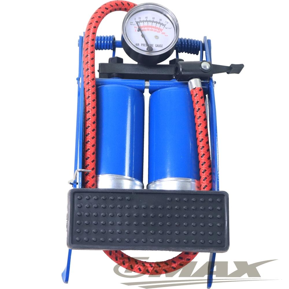 鐵馬行台製雙管打氣筒+4件式充氣組-藍色-快