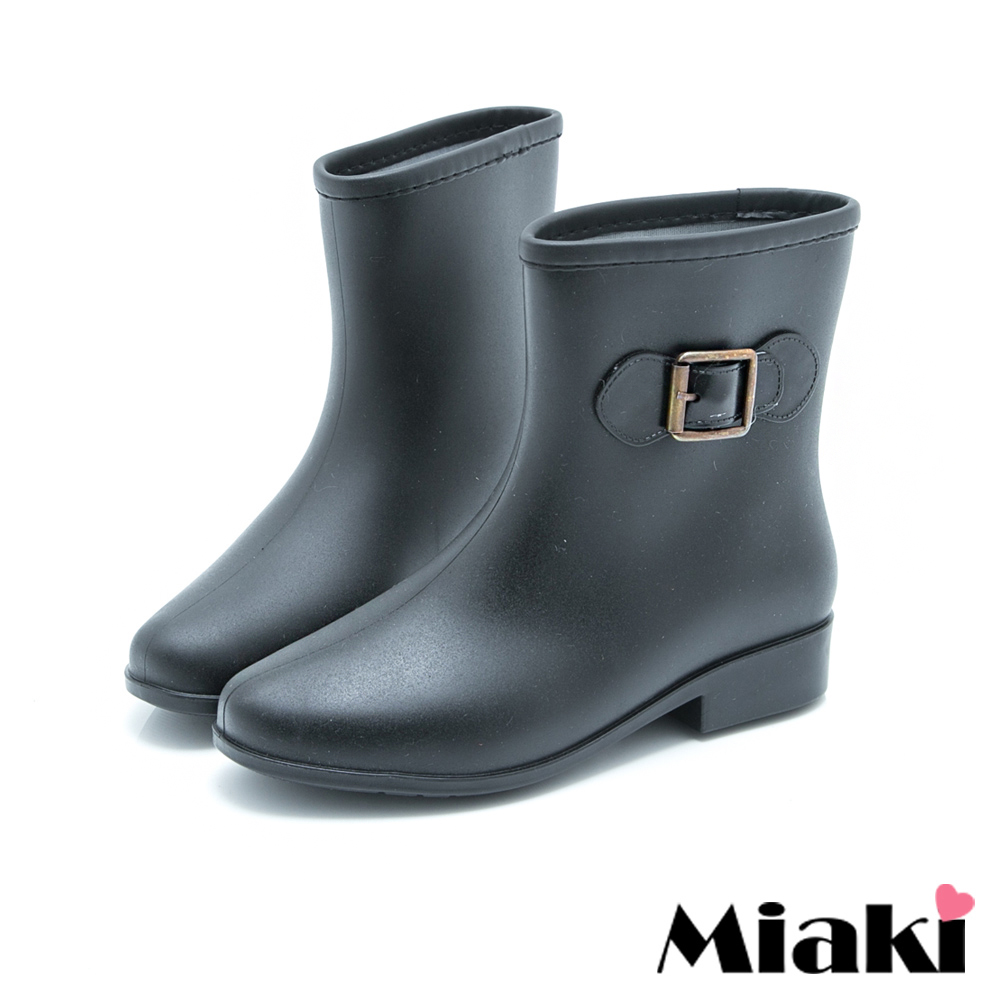 Miaki-雨靴雨天首選低跟短靴雨鞋-黑色
