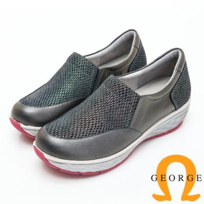 GEORGE 喬治皮鞋 素面變色拼接厚底休閒鞋-鐵灰色