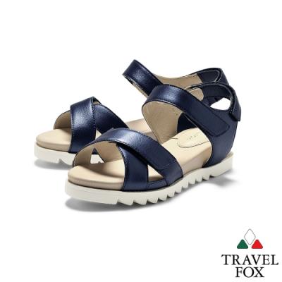 TRAVEL FOX(女)  綠野仙踨  交叉鞋帶柔軟羊皮可調式休閒涼鞋 - 炫深藍