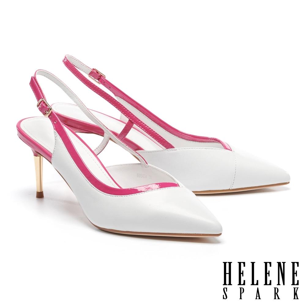 高跟鞋 HELENE SPARK 簡約時尚撞色全真皮後繫帶高跟鞋-白