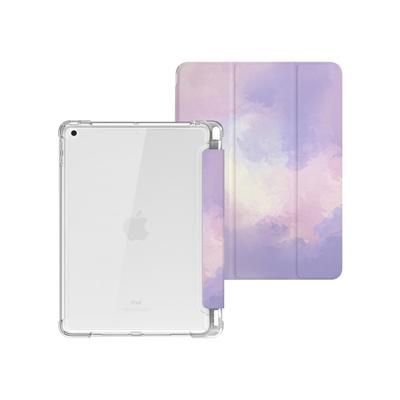 ZOYU原創 iPad Pro 10.5/Air 3 10.5吋 保護殼 透明氣囊殼 彩繪圖案款-復古水彩葡萄紫(三折式/軟殼/內置筆槽)